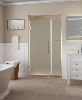 SDR960F-CH-4228-10 Belmore Gs 41.25 To 42.25 X 72 Frameless Hinged Shower Door With Frosted Glass And Glass Shelves In