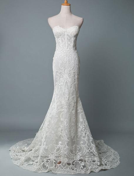 Milanoo Vestido de novia de encaje Sirena Sin tirantes Sin mangas Hasta el suelo Con tren Vestidos de novia