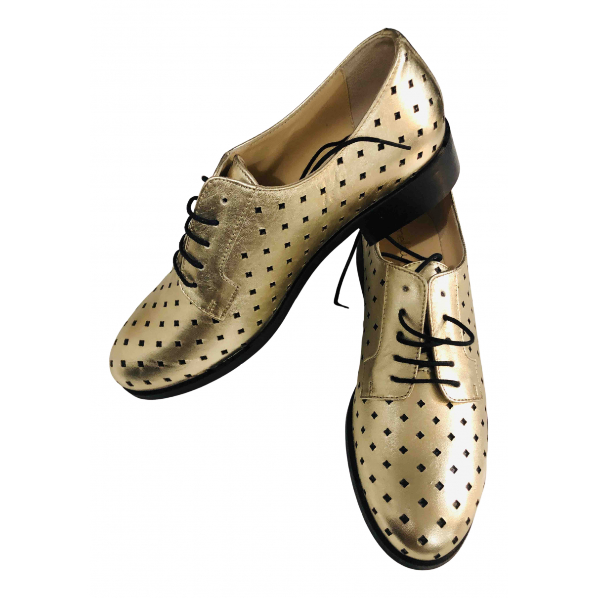 Mellow Yellow N Gold Leather Lace ups for Women 38 EU