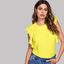 Neon Yellow Keyhole Back Flutter Sleeve Solid Top