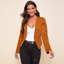Zip Pocket Asymmetrical Hem Blazer