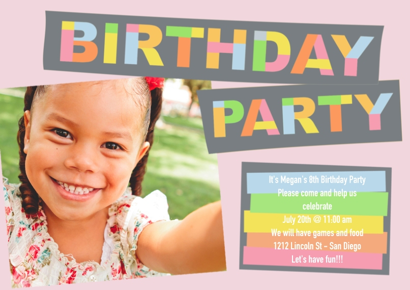 Kids Birthday Party Invites 5x7 Cards, Premium Cardstock 120lb with Rounded Corners, Card & Stationery -Birthday Letters Pink
