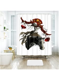 Pirate Pattern Halloween Style Polyester Anti-Bacterial Shower Curtain