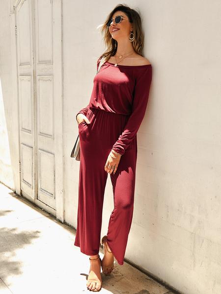 Yoins Burgundy Off Shoulder Elastic Waist Long Sleeves Jumpsuit