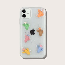 Transparente iPhone Huelle mit 3D Kaktus Dekor