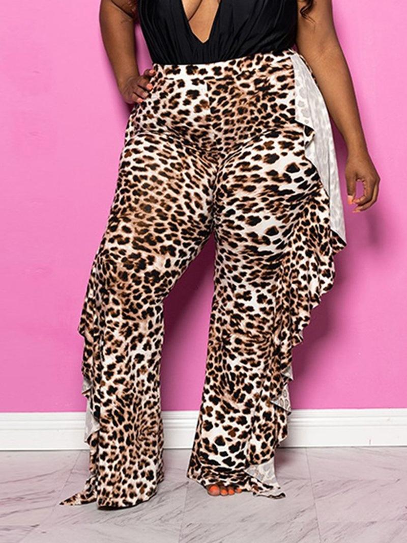 Ericdress Slim Leopard Falbala Straight High Waist Casual Pants