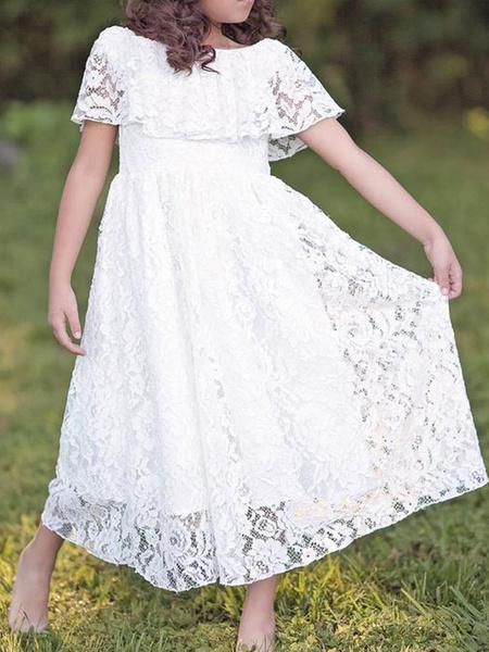 Milanoo Vestidos de niña de las flores Cuello de joya Mangas cortas de encaje Hasta el tobillo Una linea Vestidos de desfile formales plisados para ni
