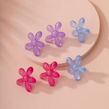 3 pares pendientes de tachuela multicolor en forma de flor