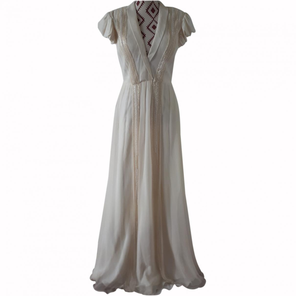 Non Signé / Unsigned \N Ecru Silk dress for Women 40 FR