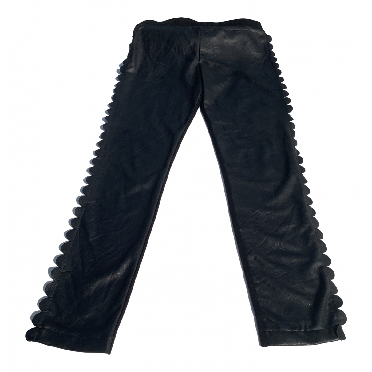 Fendi \N Black Leather Trousers for Women 38 IT
