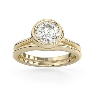 2 CT Moissanite East West Round Cut Bezel Solitaire Ring in 14K Gold (7.75 - Yellow)