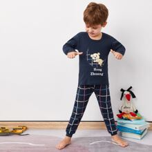 Toddler Boys Cartoon And Letter Graphic Pajama Set