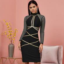 Adyce vestido ajustado con malla unido en contraste