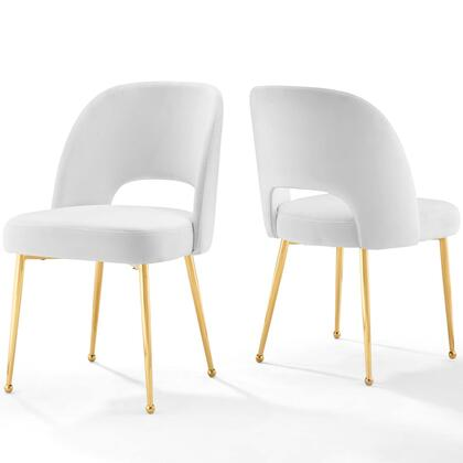 Rouse Collection EEI-4162-WHI Set of 2 Dining Room Side Chairs with Dense Foam Padding  Splayed and Tapered Legs  Gold Stainless Steel Legs and