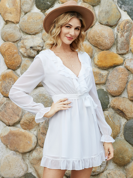 YOINS White Belted Ruffle Trim Lace-up Design Deep V Neck Long Sleeves Dress