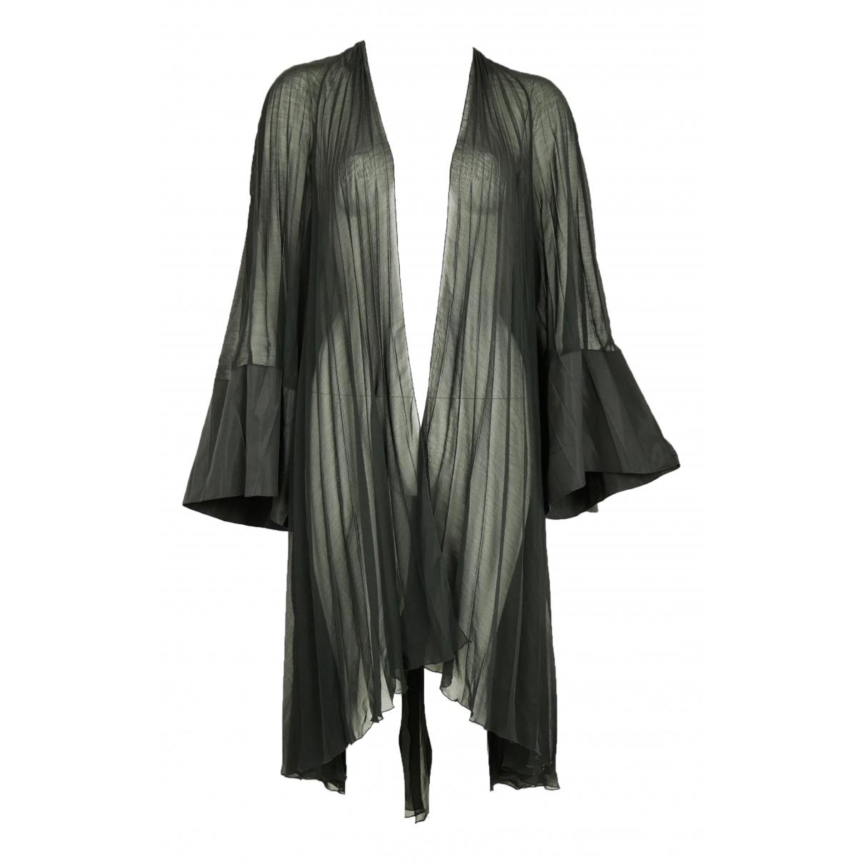 Thierry Mugler - Manteau   pour femme en soie - noir
