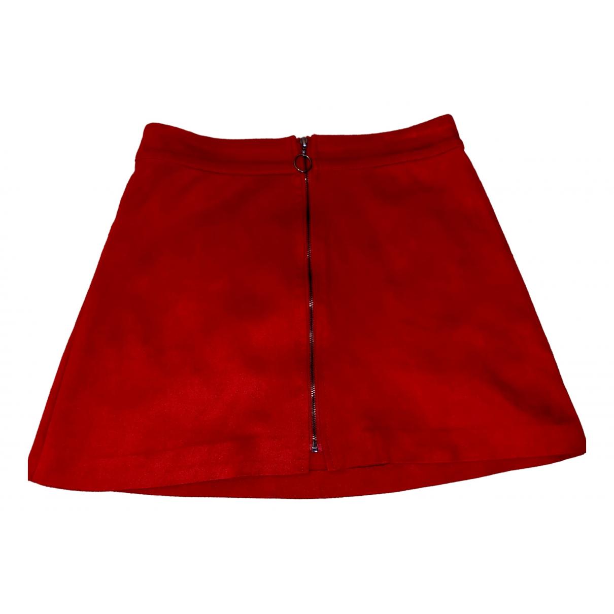 Zara \N Rocke in  Rot Veloursleder