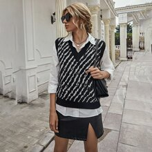 Zebra Stripe Shoulder Pad Sweater Vest