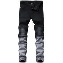 Schmale Jeans mit Farbverlauf und Falten