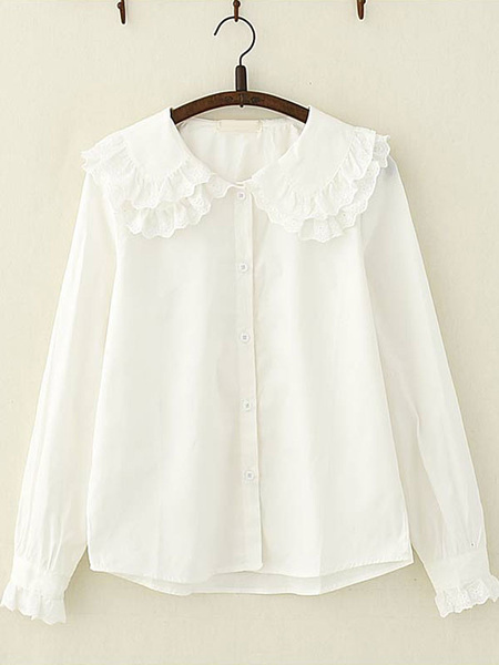 Milanoo Sweet Lolita Shirt Peter Pan Collar Lace Frill White Cotton Lolita Top
