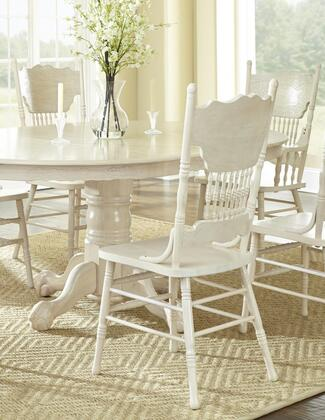 Nostalgia Collection 8124S(W) Side Chair with 4 Legs and Wood Veneers in Whitewash