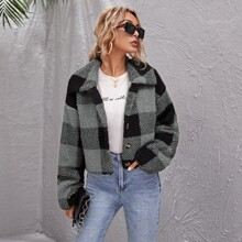 Button Front Gingham Teddy Jacket