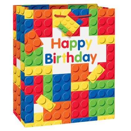 Building Blocks Birthday Large Gift Bag Pour la fête d'anniversaire