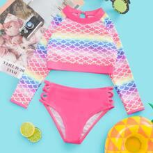 Toddler Girls Fish Scales Bikini Swimsuit