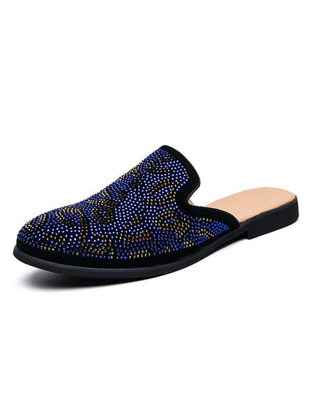 Milanoo Men\'s Casual SMules Blue Slip-On Shoes Sequined Suede Men\'s Shoes