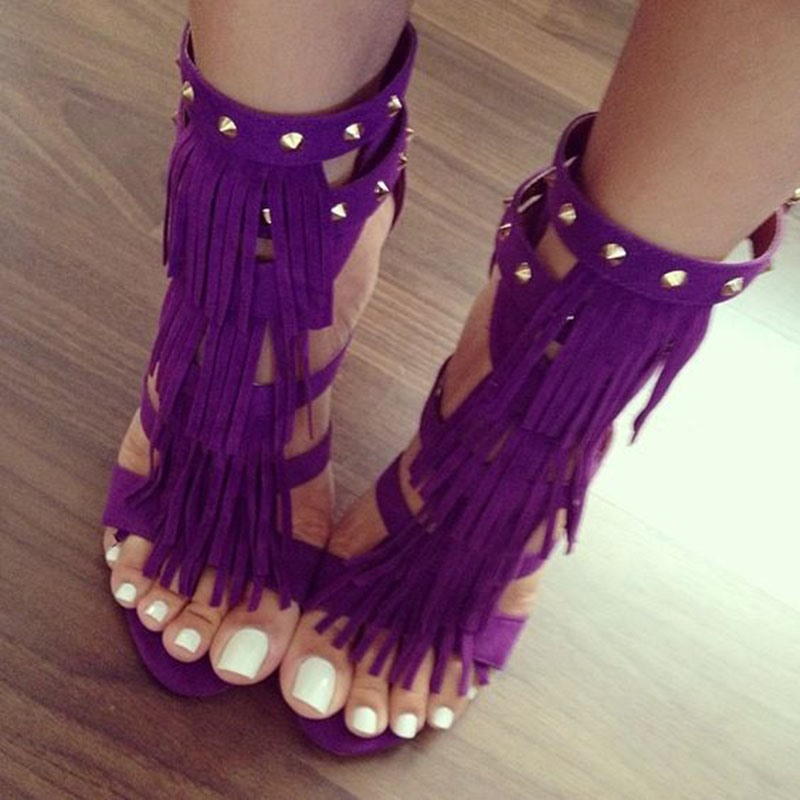 Ericdress Purple Tassels&rivets Stiletto Sandals