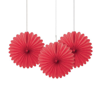 Solid Tissue Paper Fans for Party Decoration 6'' 3Pcs - Ruby Red