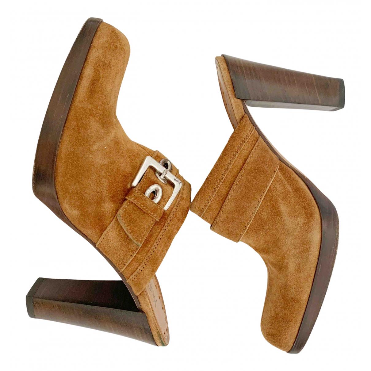 Yves Saint Laurent \N Camel Suede Mules & Clogs for Women 37 IT