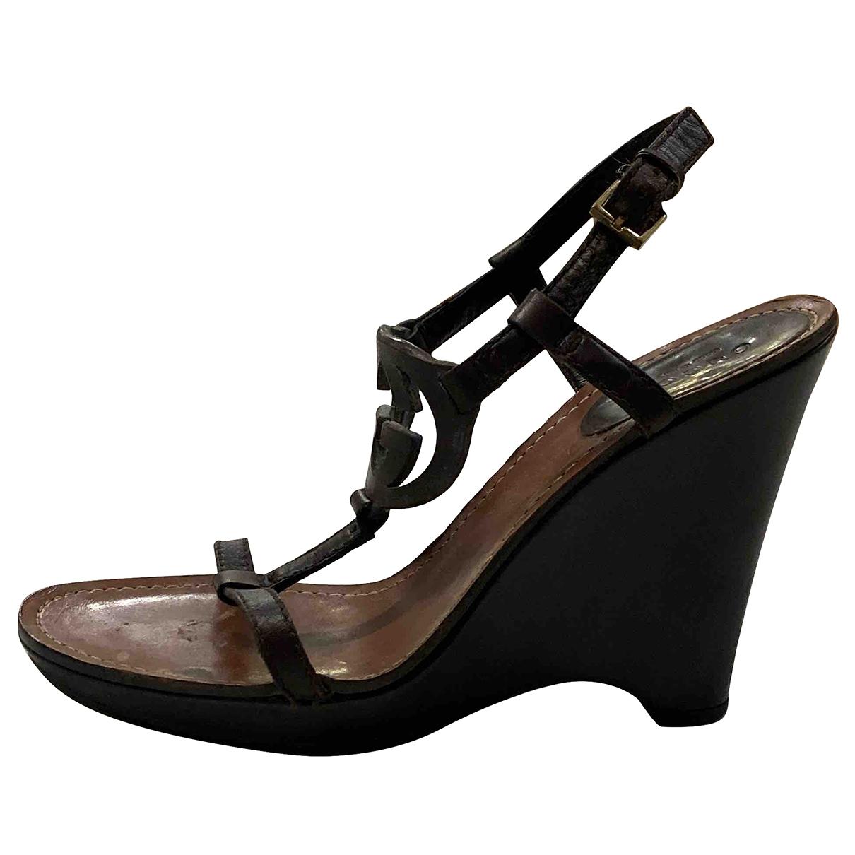 Gucci - Sandales   pour femme en cuir - marron