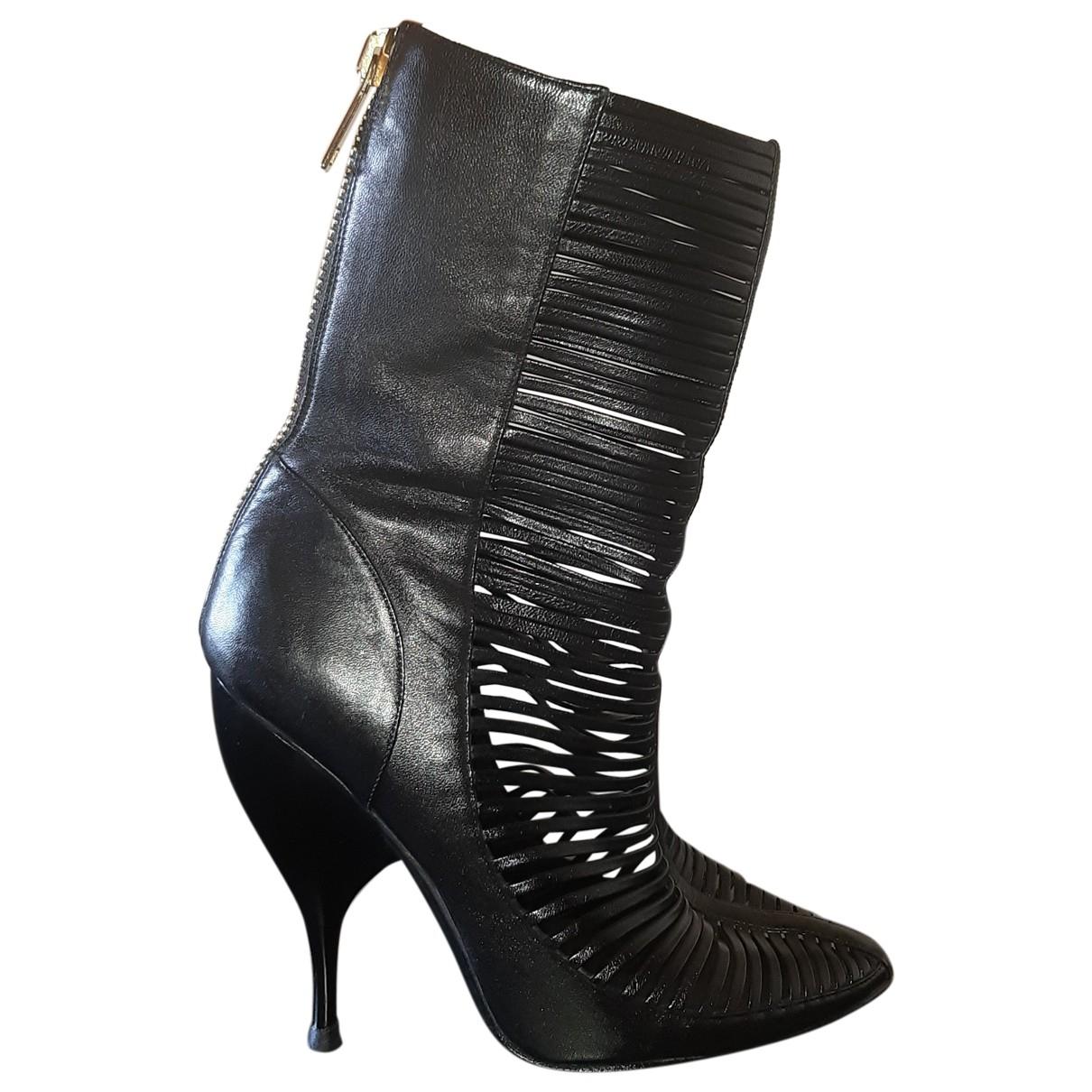 Francesco Scognamiglio \N Black Leather Boots for Women 39.5 EU
