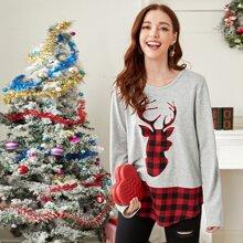 T-Shirt mit Weihnachten Karo Mustr