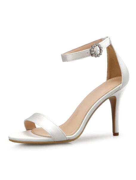Milanoo High Heel Sandals Black Open Toe Ankle Strap Sandal Shoes Women Detachable Sandals With Bandage