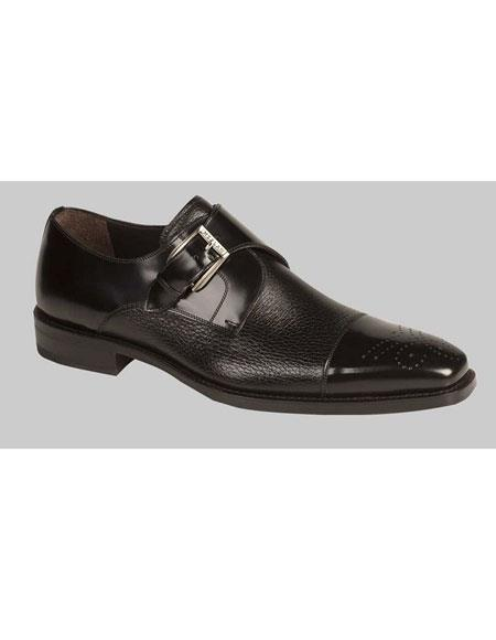 Mens Black Monk Strap Cap Toe Slip-on Loafers Shoes Mezlan Brand