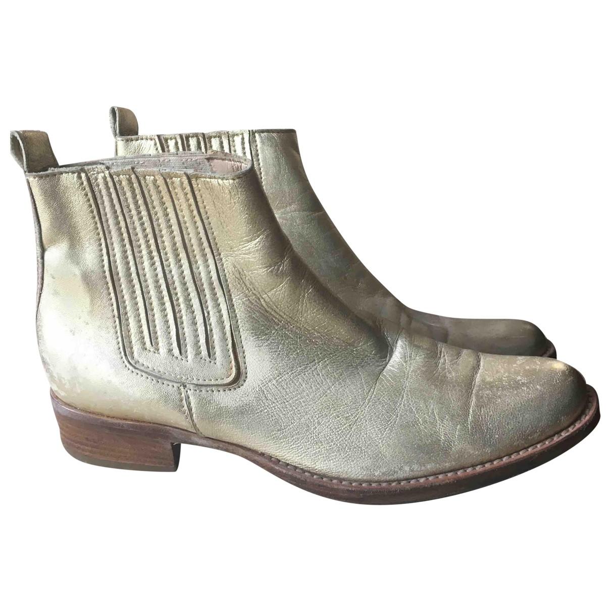 - Boots   pour femme en cuir - metallise