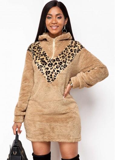 Rosewe Women Tan Leopard Printed Hooded Collar Flutty Dress Long Sleeve Zipper Detail Mini Winter Dress - L