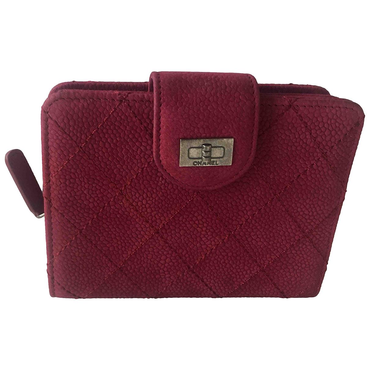 Chanel - Portefeuille 2.55 pour femme en suede - bordeaux