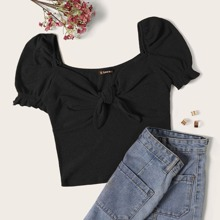 Strick T-Shirt mit Ruesche und Halsband
