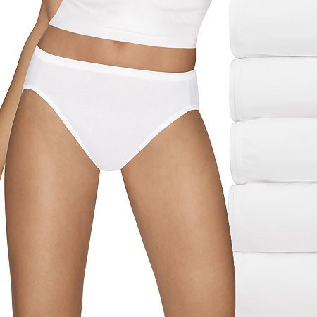 Hanes Ultimate Cool Comfort Cotton Ultra Soft 5 Pack High Cut Panty, 10 , White