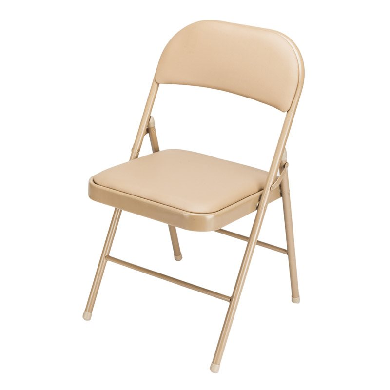 Khaki Folding Chair, Sponge Filled, Comfortable And Durable, Firm And Firm, Suitable For Dining Room, Drawing Room, Exhibition Room, Etc