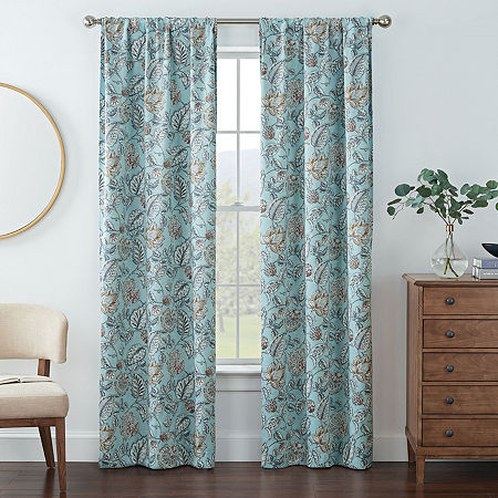 Eclipse Kerry Floral Energy Saving Blackout Rod-Pocket Set of 2 Curtain Panel, One Size , Blue