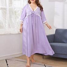 Plus Tie Front Floral Embroidered Detail Nightdress