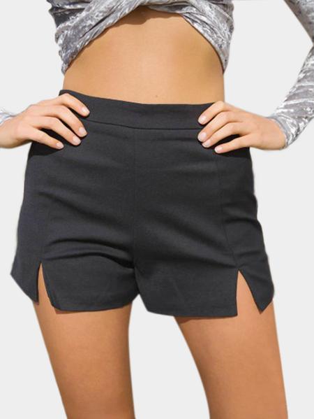 Yoins Bodycon Splits Front Mini Shorts in Black