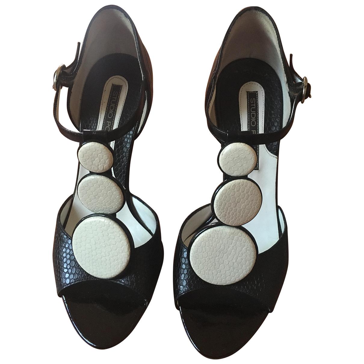 Pollini \N Black Leather Sandals for Women 35 EU
