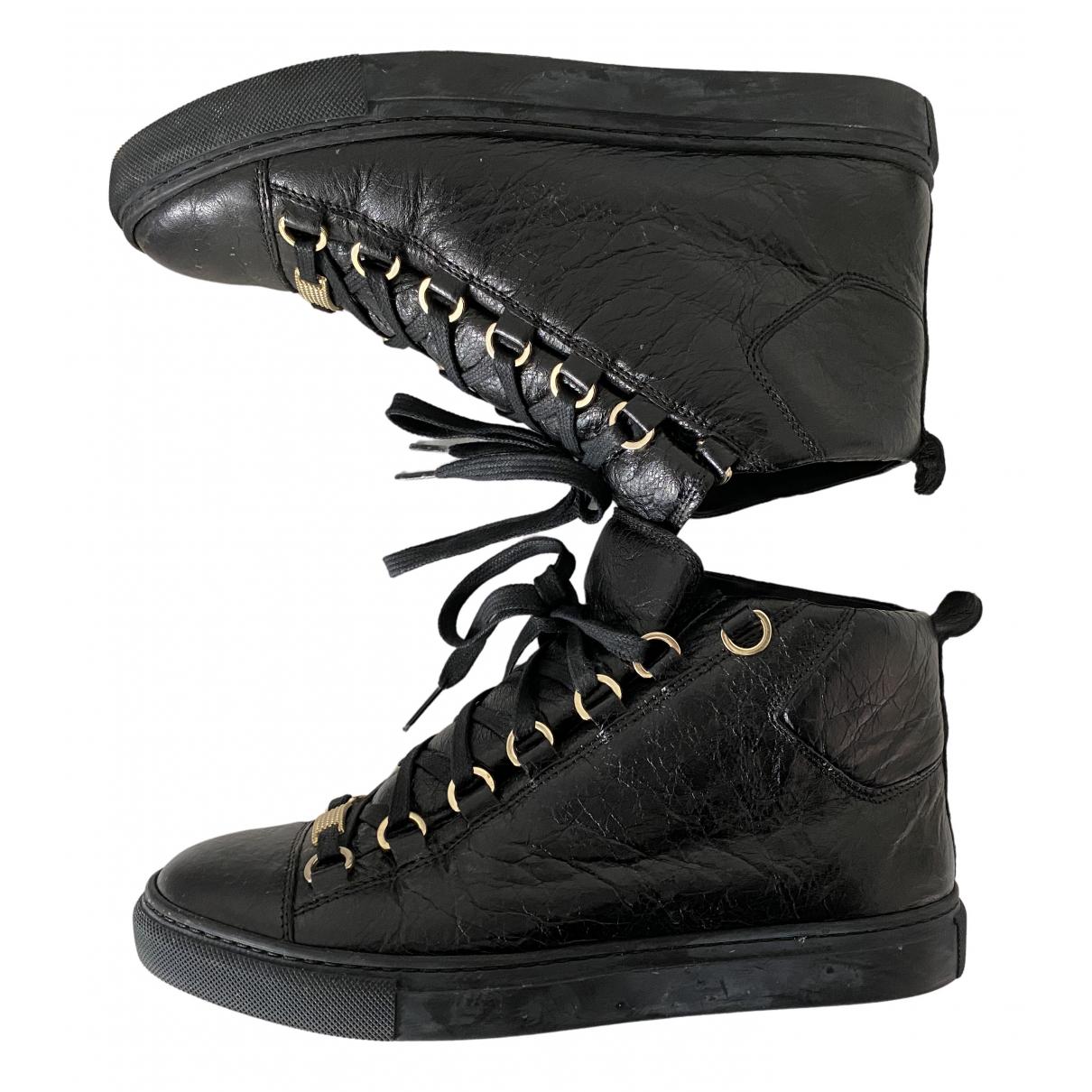 Balenciaga \N Black Leather Trainers for Women 38 EU
