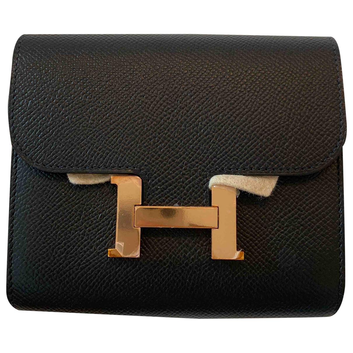 Hermes - Portefeuille Constance pour femme en cuir - noir