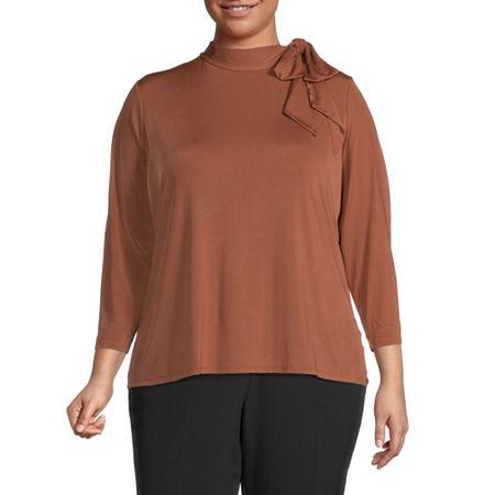 Worthington Womens Tie Neck Knit Shell - Plus, 1x , Brown